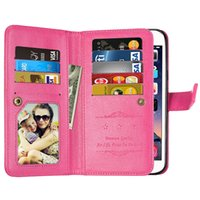 Wholesale Note Ii Wallet - 9 Card Slot Money Photo frame Stand Wallet Case for Samsung Galaxy s6 edge plus Note 3 A8 2016 C9 PRO J9 Honor 6x 5A Y6 II Mate 8 MATE 9 50P