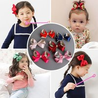 Wholesale Wholesale New Hair Claw - 2017 New Girl Hair Bows Ribbon Hair Clips Barrettes Kids Girls Holiday Gift For Children Hair Accessory 24pcs lot