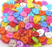 Wholesale Hole Plastic Buttons - Brand new mix colors randomly 500pcs plastic two hole mix five-star bear flower shape buttons for Children clothing sewing drop shipping