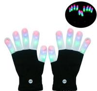 ingrosso guanti di rave neri-Guanti guanti LED Rave Guanti lampeggianti Guanti illuminazione LED Colorati 7 colori Mostra luci Bianco e nero LLFA