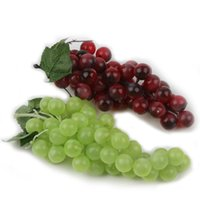 Wholesale Wholesale Fake Grapes - Bunch Lifelike Artificial Grapes Plastic Fake Decorative Fruit Food Home Decor 2 Colors Drop Shipping HG-0985