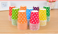 Wholesale 50pcs Eco friendly Wedding Drinking Paper Cup Polka Dot Disposable Paper Cup Birthday Party Table Decoration Paper Cups