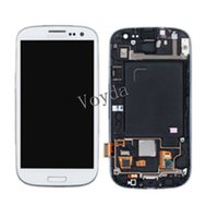 Wholesale Original Galaxy S3 Lcd Black - LCD Display Touch Screen Digitizer Assembly With Frame For Original Samsung Galaxy S3 GT i9300 GT-I9300 S III 3 Mobile Phone Black White