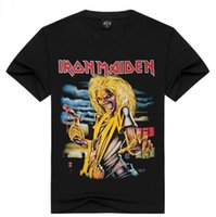 Wholesale Iron Maiden Free Shipping - High Quality Black Iron Maiden Band Tee Shirt Summer Collection Hip Hop Clothes For Guys Free Shipping By Epacket