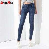 Wholesale Jeans For Women Elastic Waist Pencil Pants Slim Denim Trousers Pantalones Vaqueros Mujer Scratched Stretch Jeans Ladies GAREMAY