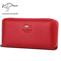 Wholesale Kangaroo Kingdom - Wholesale- Kangaroo Kingdom Luxury Women Wallets Genuine Leather Pusre Brand Wallet Ladies Clutch