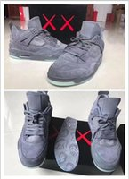 Wholesale Cheaper Basketball Shoes - NEW high quality Air Retro 4 Kaws Basketball Shoes 2017 Cheaper Air IV Grey Color Glow Suede Shoes Fashion In Market Size 41-47