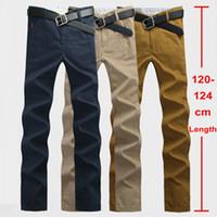 Wholesale Extra Slim Plus - Wholesale- 120cm Extra Long Mens Chinos Pants Plus Size 28~44 Mens Casual Pants Slim Straight Stonewash Male Twill Trousers Khaki Navy 812