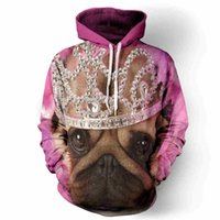 Wholesale Little Girls Fashion Belts - Pink color cute little dog painting girls hoodie 3d print young teens fashion worm sweatshirt winter wear fashion loose cloth