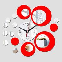 ingrosso orologi di fiori acrilici-All'ingrosso-2016 arrivo stanza calda argento grande fiore orologio al quarzo acrilico modo rn design di lusso 3d orologi specchio guarda il trasporto libero