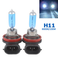 Wholesale White Halogen Lamps For Car - 2pcs H11 12V 100W Super White 6000K H.O.D Xenon Gas Halogen Lamp Car Headlight for Driving Safety CEC_491
