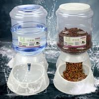 balde de água de plástico venda por atacado-Baldes Bowls Grande 3.5Liters Automático Pet Cat Cão Alimentador De Água / Food Feeder Tigela Dispensador De Garrafas de Plástico