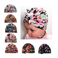 Wholesale Spring Bunnies - 2017 Baby Hats Floral Print Bunny Ear Caps Ears Cover Hat Europe Style Turban Knot Head Wraps Infant Kids India Hats Beanie BH84