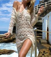 Wholesale Ladies Swimwear Dresses - Sexy Beach Cover up Crochet White Swimwear Dress Ladies Bathing Suit Cover ups Beach Tunic Saida de Praia