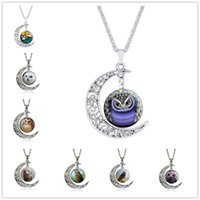 gafas de noche al por mayor-Moda Night Owl Time Gem Cabochon Collar Moon Sun Bird Glass colgante Nice Jewelry Accessary Gift Girl