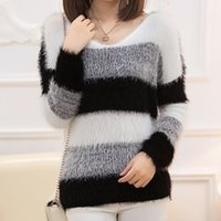 Wholesale Wholesale Mohair Wool - Wholesale- Autumn Winter Sweater Women Black White Stripe Loose Long-sleeve Pullover Mohair Decoration Plus Size Sweater Women