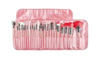 Wholesale Red Charm Packs - 2017 of the lat24 pack fashion professional makeup brush set kit charming pink enthusiastic red black leather bags cosmetic eye shadow brush
