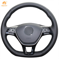 Wholesale New Leather Steering Wheel Cover - Mewant Black Genuine Leather Car Steering Wheel Cover for Volkswagen VW Golf 7 Mk7 New Polo Jetta Passat B8 Tiguan Sharan Touran Up