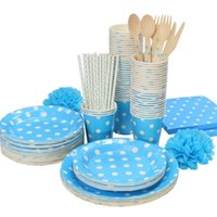 Wholesale Promotion Lt Blue White Polka Dots Tableware Party paper plate cups napkins paper straw Cutlery Set Knives Forks Spoons