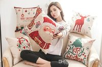 Wholesale Animal Cushion Covers - Christmas pillow case Christmas tree Santa Claus deer elk cotton linen throw pillow cushion cover pillow cover wholesale.