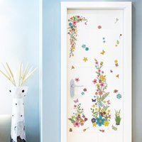 Wholesale Flower Designs For Tattoos - Colorful Flowers Vine Wall Stickers Home Decor Cabinet Closet Computer Tattoos Decals Living Room Decorative Wall Graphic Art Mural Poster