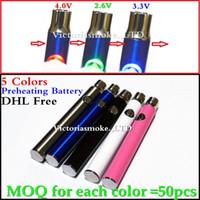 Wholesale Newest Variable Voltage - 5 Colors Newest variable voltage Preheating Battery Pre heat Button Adjustable O pen BUD for vaporizer pen cartridge