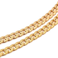 Wholesale 14k Curb Chain - Classics Men 14k Solid Gold GF Cuban Link Chain Real Filled Curb Necklace Fleshless Not satisfied with the refund