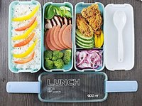 Wholesale 3 Layers Portable Microwave Lunch Box With Spoon Candy Color Box Food Containers Lunchbox