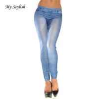 Wholesale Wholesale Cheap Sexy Tights - Wholesale- Cheap Women Jeans 2017 New Fashion Women Ladies Skinny Solid Color Denim Stretch Sexy Pants Soft Tights High Quality Dec 14
