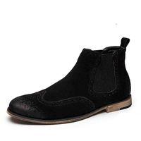 Wholesale Boots Fashion Platform Vintage - Non-Slip Vintage Handmade Chelsea Boots All-matching Kanye West Shoes Boots Sexy Platform Botas Casual Men's High Shoes