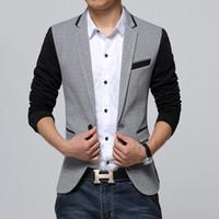Wholesale suite jackets - New Slim Fit Casual jacket Cotton Men Blazer Jacket Single Button Gray Mens Suit Jacket Male Suite