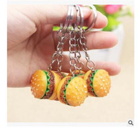 Wholesale Diy Promotional Gifts - Keychains 2017 Hamburger Shaped New Arrival Novelty Food Keyrings Cheap Promotional Gifts DIY Accessory DHL Free Shipping