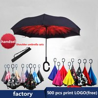 Wholesale 2017 Creative Inverted Umbrellas Double Layer With C Handle Inside Out Reverse Windproof Umbrella suitable for both sunny rainy day