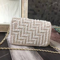 Wholesale Heavy Bag Women - Vintage Brand Cream White Braid Pearl Flap Bag Gold Heavy Hardware Women Single Crossbody Shoulder Bag 2017 Free Shipping B355