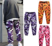 Wholesale Oversized Xxl - FLYING NINETY Late TOP camouflage camo KANYE WEST & FNTY oversized men joggers pants hip hop justin bieber Pink purple Fashion pants S-XXL