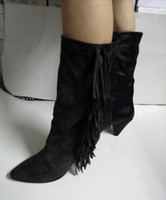 Top Quality Real Leather Superstar Fringe Shoes Mulher Spike Heel Pumps Mulheres Booties Black Grey Suede Wedge Ankle Boots Slip On