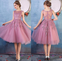 Wholesale Below Knee Length Dress - 2017 New Crew Neck Lace Below Knee Cocktail Party Dresses Organza Lace Applique Beaded Short Prom Gowns Bridesmaid Dress Cheap