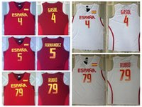 Wholesale Rio L - 2016 RIO Spain Team Jersey 5 Fernandez 4 Pau Gasol Spain Basketball Shirts Uniform 79 Ricky Rubio Rev 30 New Material Red White