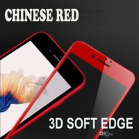 Wholesale Soft Bags For Glasses - 2017 Chinese Red 3D Soft Edge Tempered Screen Protector for iPhone7 ,Tempered Glass for iPhone7plus , With OPP Bag
