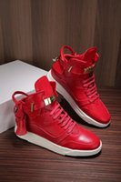 Wholesale Flat Wedge Sneakers - Increased Wedges 950 Men Sneaker Boost Shoes Gold Lock Logo Ankle Boot High Top Women 750 Leisure Sneakers High quality Buscem Flats