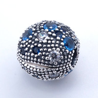 Wholesale love jewelry findings for sale - Group buy Round Clip Blue Cosmic Stars Charm Clips fit pandora charms bracelet bangle for woman jewelry finding sterling silver jewelry