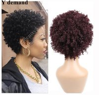 Wholesale Short Afro Curl Wig - Short Afro Curl Wig Peruvian Body Wave Bob Wigs Natural Hairline Glueless Full Human Hair Capless Wigs Y demand