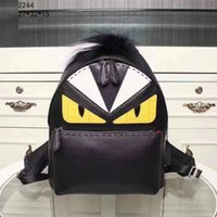 Wholesale Cheap Brown Bags - Genuine Leather Unisex Fashion Backpack Cheap Lovely Pretty Style Medium School Bags with Cute Cartoon Pattern