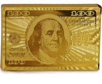 tarjetas de papel de oro al por mayor-Lámina de oro Lámina de póquer Cartas de naipes Plástico a prueba de agua Texas Hold em póquer Póquer de alta calidad Dólar estadounidense Euro Estilos generales DHL