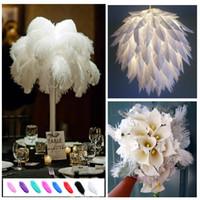 devekuşu tüyleri masa merkezkaçları toptan satış-Yüksek kalite Beyaz renk Devekuşu Tüy Plume Düğün centerpieces için 16-18 inç parti masa ev dekorasyon Z134