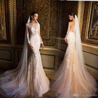 Wholesale Cheap Fishtail Gowns - Milla nova Champagne Mermaid Long Sleeve Wedding Dresses 2017 Modest Lace Applique Fishtail Beach Party Bridal Wedding Gowns Cheap