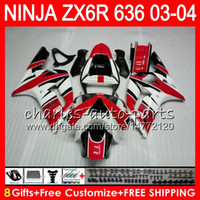Wholesale Zx6r White Red - 8Gifts 23Colors kit For KAWASAKI NINJA ZX 636 ZX 6R 03-04 600CC 29NO52 red white ZX-6R 2003 2004 ZX-636 ZX636 ZX6R 03 04 Fairing Bodywork