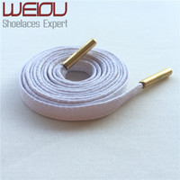 Wholesale Bright Hotels - Weiou Gold metal aglets bright colored waxed dress shoe laces black boot laces cotton shoelaces for Leather shoes 115cm 125cm