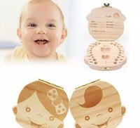 Wholesale Tin Box For Kids - Baby Milk Tooth Collection Memorial child Tooth Box Cute and Beautiful Wooden Tooth Box great gifts creative for kids