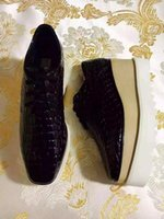 Wholesale Cheap Women Platform Shoes - Cheap Stella Mccartney Black Genuine Leather Women Platform Shoes Lace Up Low Top Size EU34-41
